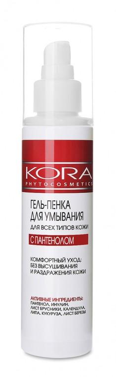 KORA Гель-пенка для умывания для всех типов кожи с пантенолом150 мл