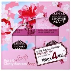 KeraSys Мыло косметическое Шауэр Мэйт Роза и вишневый цвет 100г х 4шт