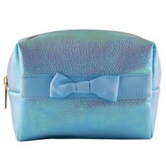 Косметичка LADY PINK SHINING квадратная с бантиком голубая