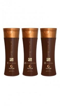HONMA TOKYO Набор для кератинового выпрямления жестких волос (шампунь 150 мл, кератин 150 мл, маска 150 мл) Coffee Premium All Liss