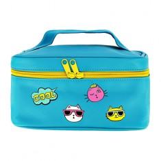 Косметичка-чемоданчик для путешествий LADY PINK неон голубой