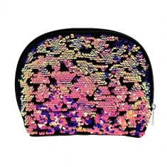 Косметичка LADY PINK в пайетках овальная разноцветная