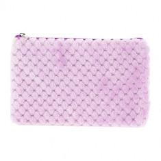 Косметичка LADY PINK плоская меховая розовая