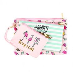 Набор плоских косметичек LADY PINK MERMAID Фламинго 3 шт