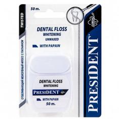 Президент Зубная нить-флосс Отбеливающая с папаином 50м President