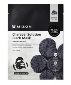 Тканевая маска c древесным углем Charcoal Solution Black Mask Mizon