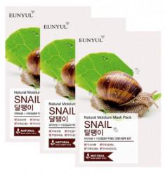Набор тканевых масок с муцином улитки EUNYUL NATURAL MOISTURE MASK PACK SNAIL 22мл*3