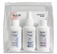 OLLIN PROFESSIONAL Набор дорожный для волос (шампунь 100 мл, бальзам 100 мл, крем-спрей 100 мл) PERFECT HAIR